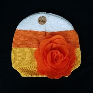 Candy Corn Beanie with Flower Fall Halloween Knit